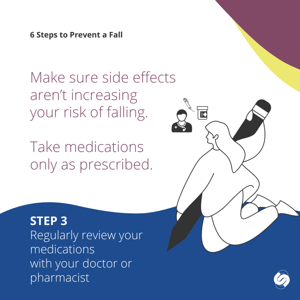 6 steps to prevent a fall - regularly review your medications